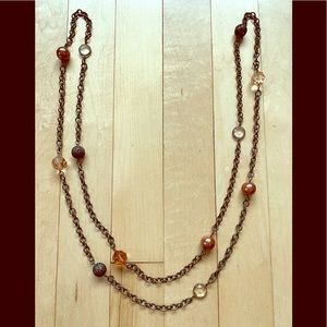 Lia Sophia Chain Necklace Brown Beads Jewels